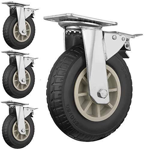 N/Z Daily Equipment 4Pcs Castors Wheels 5/6/8' Casters Swivel Industrial Castors Wheels Rubber Mute with Brake Niture Casters Trolley Brake 8In