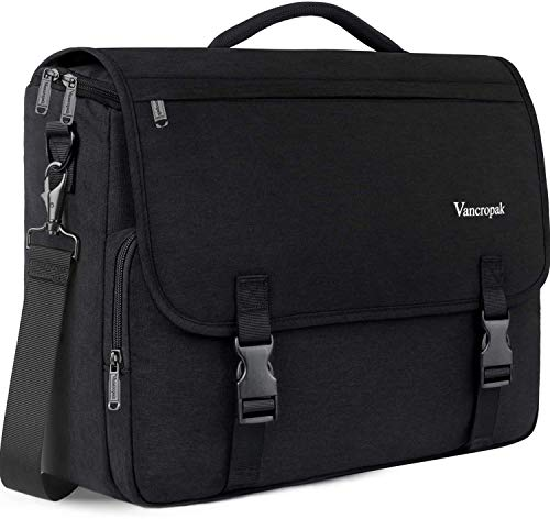 Messenger Bag for Men, 15.6 inch Laptop Bag,Crossbody Briefcases Satchel Shoulder Bag for Women School Teens Fit 15.6Inch Laptop Canvas Office with Detachable Shoulder Strap