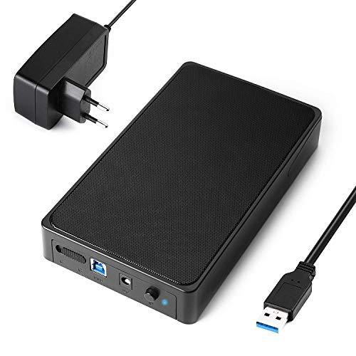 Carcasa Disco Duro 3.5', Salcar Caja Disco Duro USB 3.0 con UASP para HDD SSD SATA I/II/III, 12 TB Max, Comaptible con PC, PS4,Xbox 360,Xbox One(Cable USB 3.0 y Adaptador de corriente 12V 2A Incluido)