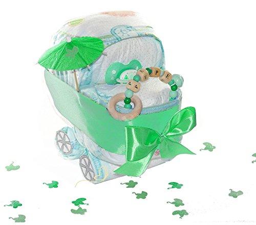 dubistda© Windelkinderwagen grün/Windeltorte neutral inkl. Greifling mit Name/Geschenk zur Geburt / 21-teilig