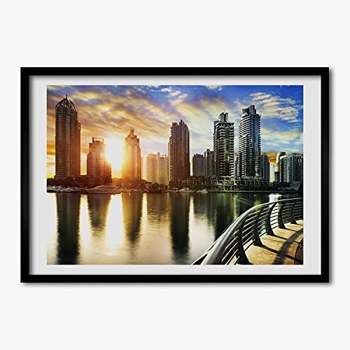 Tulup Imagen Impresión Pintura 100x70cm MDF Marco Cuadro Decoración de Pared Impresiones Póster Salón Cocina - Dubai puesta del sol Gafas de sol