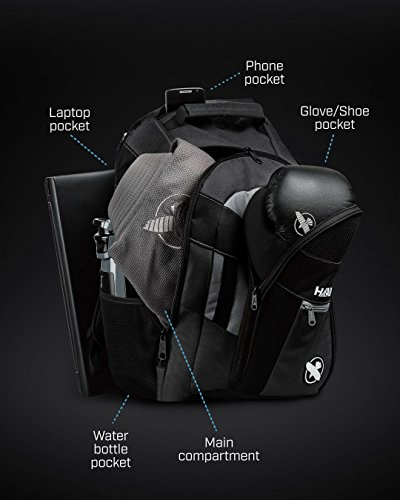 Hayabusa Ryoko Gym Backpack, Black/Grey