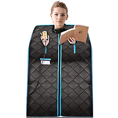 Portable Far Infrared Sauna | Home Spa One Person Sauna | Good for Weight Loss, Detox, Relaxation at Home, with Heating Foot Pad, Remote and Foldable Chair (Black)