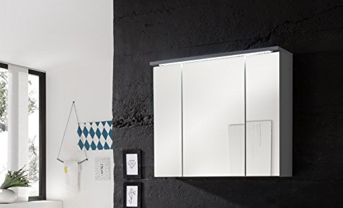 Stella Trading Bad Spiegelschrank mit LED Beleuchtung, BxHxT 80x68x23 cm