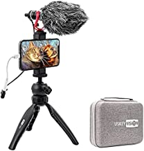 USKEYVISION Phone Camera Video Kit, Vlog Starter Set with Microphone Mini Tripod Phone Clip for YouTube Livestream TikTok, Compatible with iPhone 12 Pro Max for Samsung for Huawei