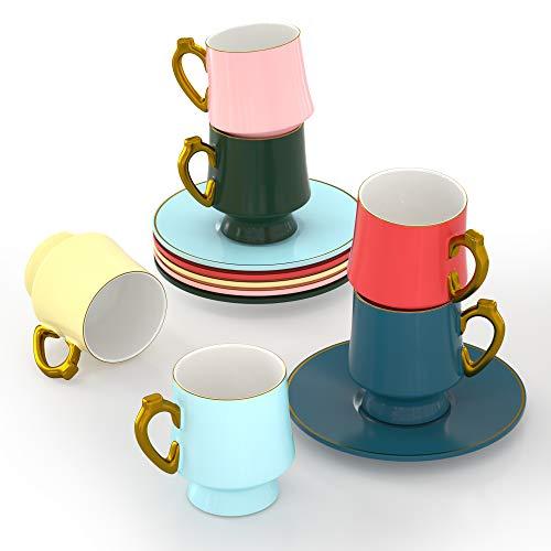 ADDTREE Tasse Kaffee, 6-teiliges 6-teiliges Keramik-Teetassen-und Untertassen-Set (100 ml), geriffelte Fassform, kleiner Cappuccino und doppelter Espresso,Keramik-Kaffeetassen für das Café und Barista