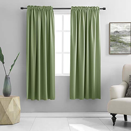 DONREN Sage Green Curtains for Bedroom - Thermal Insulated Room Darkening Rod Pocket Curtain Panels (42 W x 63 L,2 Panels)