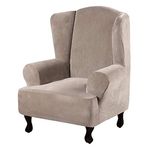 SINKITA Wing Chair Covers,Stretch Armchair Chair Feature Soft Wingback Chair Slipcover Decorative-Light brown-1-Piece