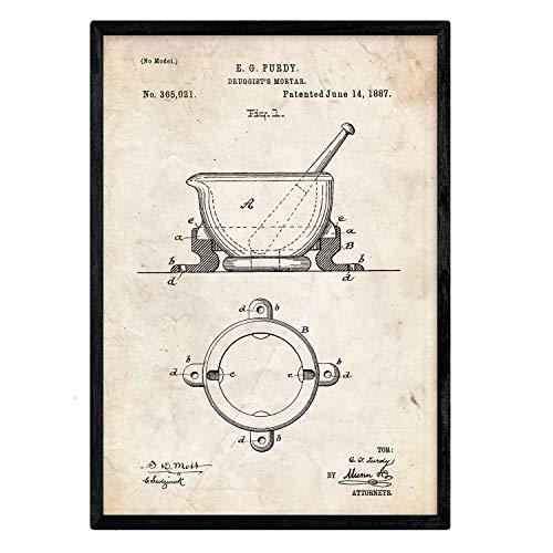 Nacnic Manifesto Brevetto Farmacia Mortaio. Foglio con Il Vecchio Brevetto di Disegno in Formato A3 e Vintage Sfondo