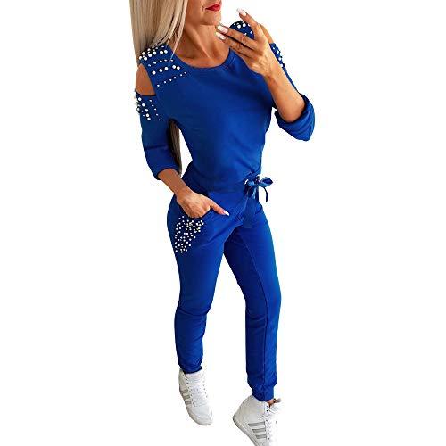Minetom Damen Trainingsanzug Mode 2 Stück Set Frauen Sportanzug Perlen Hoodie mit Kapuze Kapuzenpullover Sweatshirt + Lange Hose Jogginganzug Sportswear Sport Yoga Outfit Blau 36