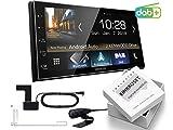 Kenwood DMX7018DABS 2-DIN Digital Auto Radio CarPlay Android Bluetooth inkl DAB-Antenne passend für Toyota Yaris 2006-2011 Silber