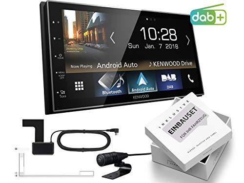 Kenwood DMX7018DABS 2-DIN Digital Auto Radio CarPlay Android Bluetooth inkl DAB-Antenne passend für Opel Corsa D 2006-2014 Stealth Black ohne Canbus