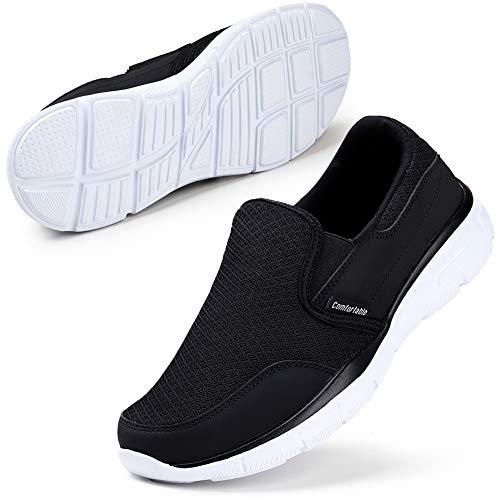 Herren Slip On Sneaker Low Top Sportschuhe Atmungsaktiv Laufschuhe Schwarz/Weiß 43 EU