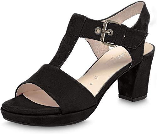 Gabor Damen Sandalen, Frauen Riemchensandalen,Comfort-Mehrweite, Women's Women Woman Freizeit leger Sandalette Damen,schwarz (Sc.Gold),39 EU / 6 UK