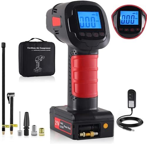 Luftkompressor Tragbare Auto-Luftpumpe mit digitalen LED-Leuchten und wiederaufladbarem 2000mAh Lithium-Akuu ermöglicht das Aufpumpen von Autoreifen, Fahrrad, Motorrad