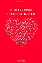"""Irish bouzouki Practice Notes: Red Heart Shaped Musical Notes Dancing Notebook for Serious Dance Lovers - 6""""x9"""" 100 Pages Journal"""