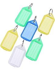 Toyvian Anillo de Metal Colorido Plástico Llaveros Equipaje Tarjeta de identificación Nombre Etiqueta Etiqueta Llavero Llavero Clasificación Llaveros (20pcs, Color al Azar)