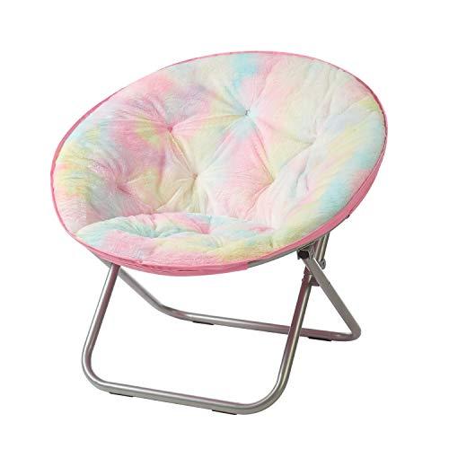 """Heritage Kids Sorbet Dreams Rainbow Fur Teen Saucer Chair, 30"""", Multi"""