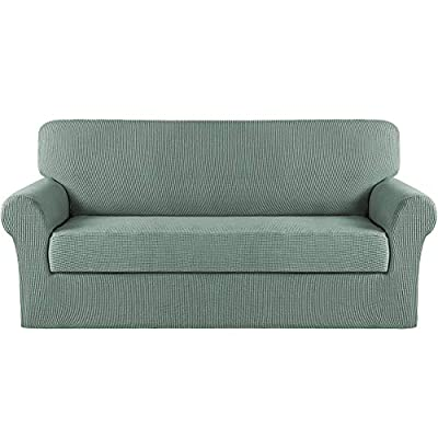 Turquoize Stretch Sofa Slipcover 2 Piece Sofa Cover with Separate Cushion Cover Couch Cover for 3 Cushion Couch Furniture Protector with Elastic Bottom High Spandex Washable (Large, Dark Cyan)