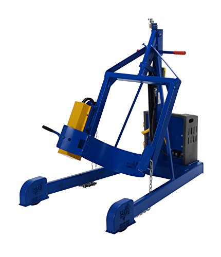 """Vestil HDC-305-96-DC DC Power Portable Hydraulic Drum Carrier/Rotator with Boom Attachment, Pull Chain Rotation, 800 lbs Capacity, 97 9/16"""" Lift Height"""