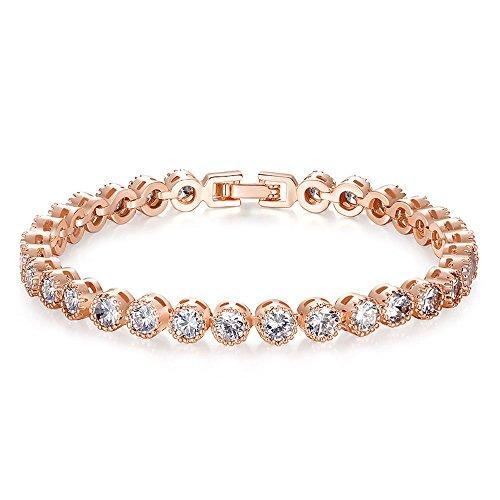Kim Johanson Damen Tennis Armband *Emma* in Roségold mit weißen Kristallen besetzt rhodiniert inkl. Schmuckbeutel