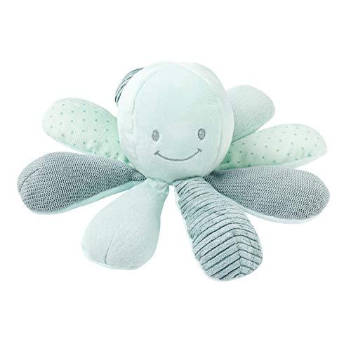 Nattou- LAPIDOU pulpo de actividad, Color verde, 20 cm (Jollymex 879712) (Producto para bebé)