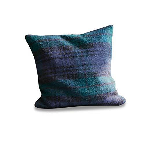 Loberon kussen pia, wol, polyester, H/B ca. 40/40 cm, blauw/groen