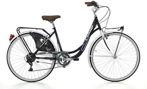 CINZIA Fahrrad 26 Zoll (66 cm) Citybike Liberty Damen-Einhebelrad schwarz weiß
