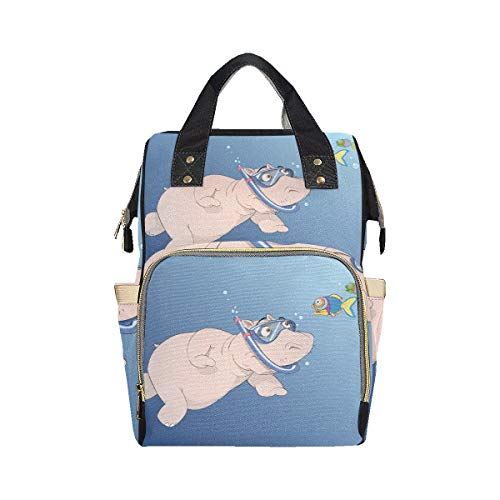 Big Swimming Hippo Lovely Animal Simple Backpack Diaper Bag Mom Dad Changing Large Capacity Multi-function Customized Diaper Bag Backpack For Baby Girl Boy