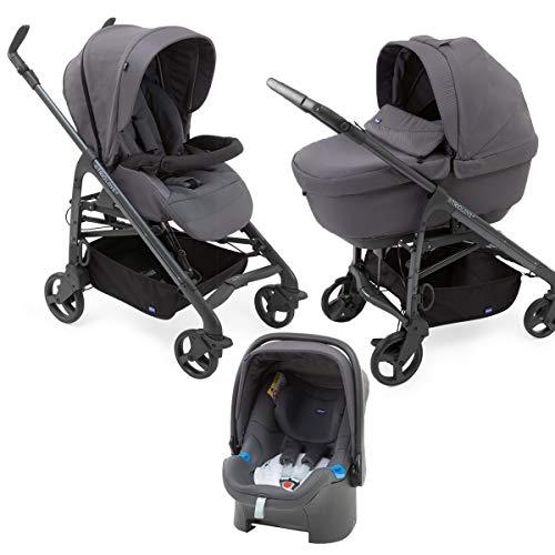 Chicco Love Up - Cochecito de paseo 3 en 1 con capazo, carrito y silla de coche, de 0 a 15 kg, manejable y compacto, color gris (moon grey), unisex