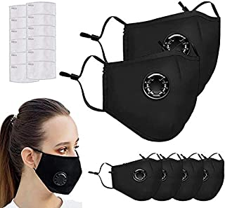 Sponsored Ad - 6 PCS Face Protective with 12 Cotton Filter Sheet, Washable Reusable Protective Covering with Breathing valve