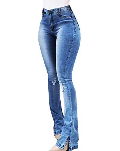 Yidarton Jeans Damen Jeanshosen Röhrenjeans Skinny Slim Fit Stretch Stylische Boyfriend Jeans Zerrissene Destroyed Jeans Hose mit Löchern Lässig (Blau-9, Large)