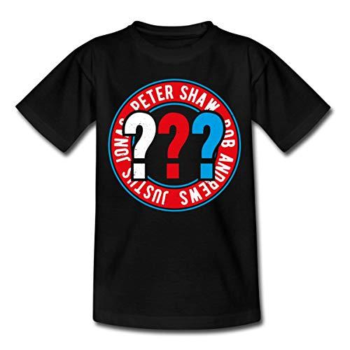 Spreadshirt Die DREI Fragezeichen Kids Logo Kreis Teenager T-Shirt, 134-146, Schwarz
