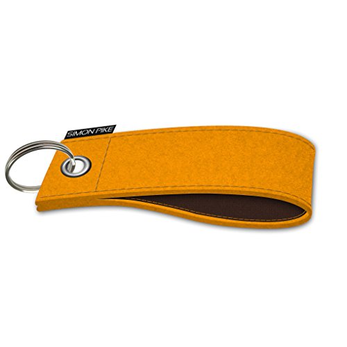 SIMON PIKE Filz Schlüsselanhänger Verona handgearbeitet aus Wollfilz, Muster: 2 gelb