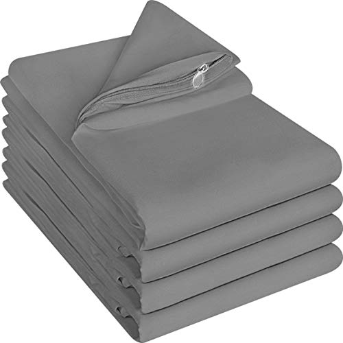 Utopia Bedding Zippered Pillowcases - 20 by 40 inches Pillow Covers- Pack of 4 - Soft Brushed Microfiber Fabric - Wrinkle, Shrinkage and Fade Resistant Pillow Covers (King, Grey)