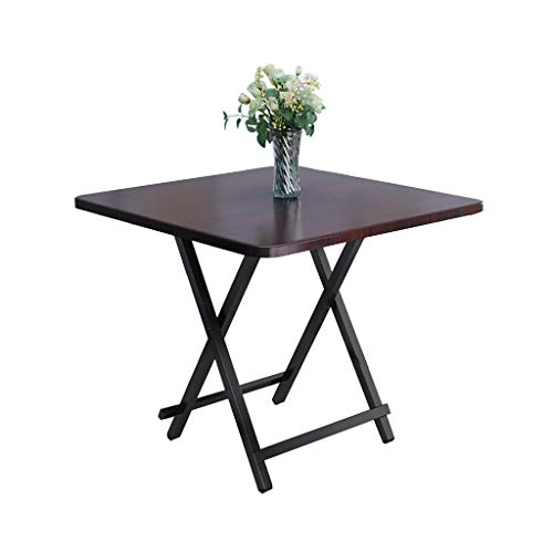 JIAYIBAO Household Kitchen Wooden Square Table 2-4 People Portable Folding Table (Black Walnut)