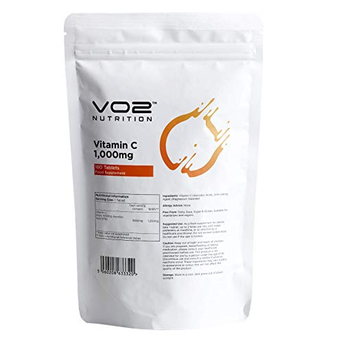 Vitamin C 1000mg, 180 Tablets | 6 Months Supply | High Strength Ascorbic Acid | Suitable for Vegetarians & Vegans | Made by VO2 Nutrition