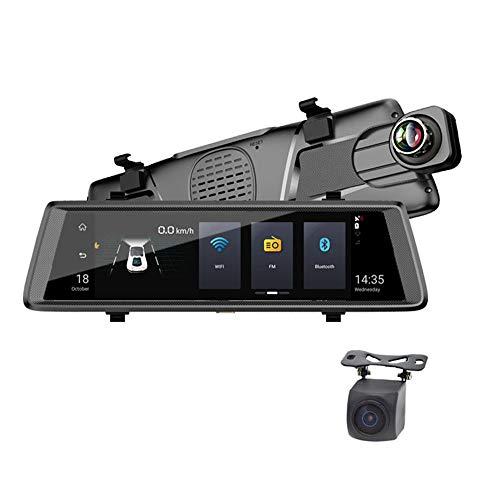 MNBVC CáMara De Coche Dash Retrovisor 10 Pulgadas Touch Screen 1080p Gran Angular 150° Y CáMara Trasera Impermeable, CáMara De VisióN Trasera Doble Lente VisióN Nocturna Monitor De Estacionamiento