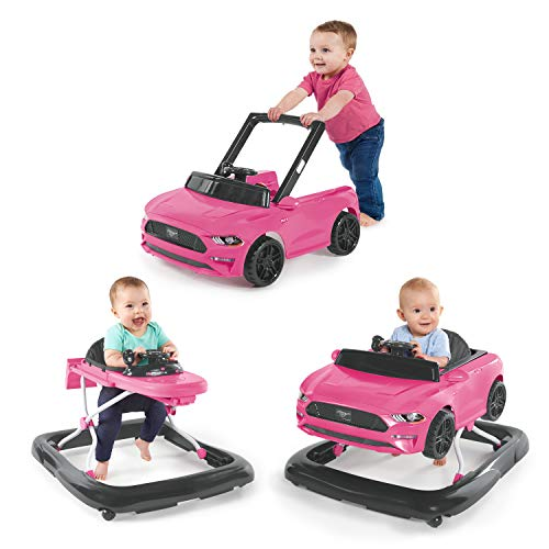 Bright Starts 3 Ways to Play Walker, Ford Mustang Pink, 6 Months...