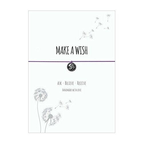 Glücksschmiedin Make a Wish - Wunsch Armband mit OM Anhänger versilbert, elastischem Textilband in Flieder und liebevoller Karte: Ask-Believe-Receive