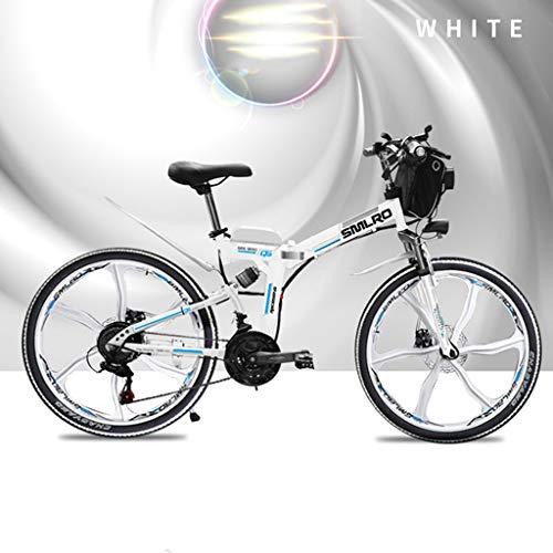 SNDDC 21 velocità Mountain Bike Bicicletta elettrica 48V 350W 10Ah Veicolo Elettrico 48 Volt 350 Watt Motore,Bianca,26inch