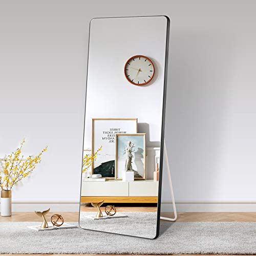 Full Length Mirror,Standing or Leaning Against Wall Rounded Corner Mirror,Full Body Mirror,Wall Floor Mirror Full Length,Large Rectangle Bedroom Mirror,Tall Stand up Black Mirror,65×24 Inch
