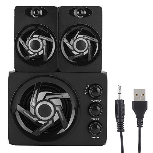 VBESTLIFE PC-Kombinationslautsprecher, Mini-Haushalts-3D-Surround-Lautsprecher-Subwoofer mit 7 farbigen Atemlichtern für Desktop-Computer/Laptop/Mobiltelefon