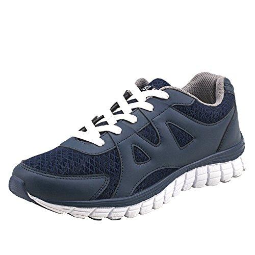 scarpe da ginnastica uomo tacco alto Shenji Scarpe Sportive - da Uomo e Donna Unisex per Adulto Scarpe da Ginnastica a Collo Basso Sneakers con Lacci M7550 Blu 39