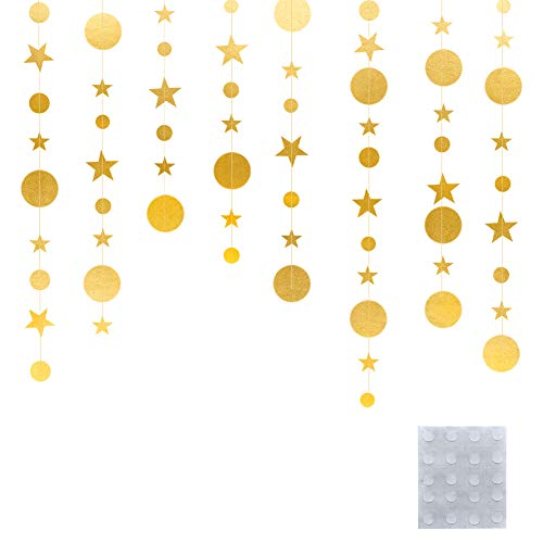 QincLing 78.7 Feet Metallic Gold Twinkle Little Star Party Garlands Kit Star and Circle Dot Garland Party Decoration Matt Gross Big Paper Circle Garland Bunting Banner Decorations