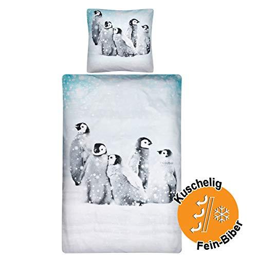 Aminata Kids Premium Biber-Bettwäsche Pinguin 135x200 cm + 80x80 cm, Baumwolle, Reißverschluss, Kinderbettwäsche mit Winter-Motiv, warm, weich & kuschelig, Weihnachten, Winterlandschaft