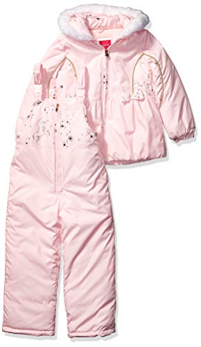 LONDON FOG Baby Girls Snowsuit with Snowbib and Puffer Jacket, Only Roses Pink Foil, 12Mo