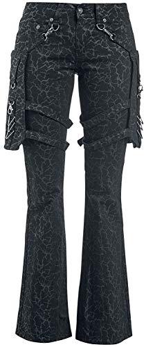 Gothicana by EMP Nicki - Schwarze Hose mit Alloverprint und abnehmbaren Taschen Frauen Stoffhose schwarz W28L30