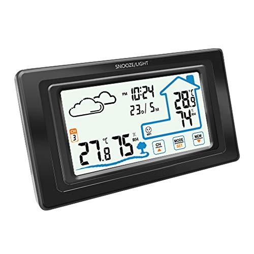 ONEVER PT19A Higrómetro Digital inalámbrico Pantalla táctil Estación meteorológica Monitor inalámbrico de Temperatura y Humedad con Hora Actual Luz de Fondo