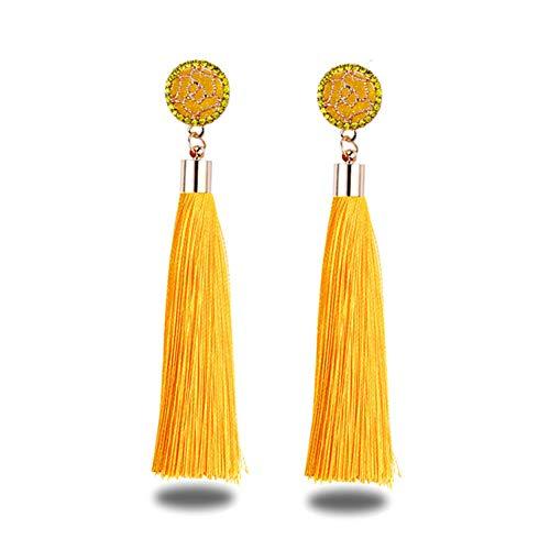 Shager Borlas Largo Pendientes de Flecos Bohemios para Mujer para Regalo de Cumpleaños Decoración de Fiesta (Amarillo)